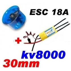 MOTEUR BRUSHLESS KV 8000+ ESC 18A + TURBINE DIAMETRE 30mm LIPO 2S ET 3S  poussée 160g