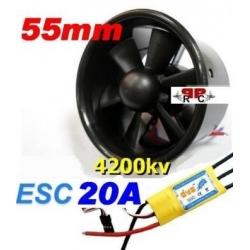 MOTEUR BRUSHLESS + ESC 20A + TURBINE DIAMETRE 55 mm poussée 500g