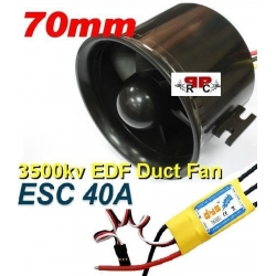 MOTEUR BRUSHLESS+ ESC 40A + TURBINE DIAMETRE 70 mm poussée 800g