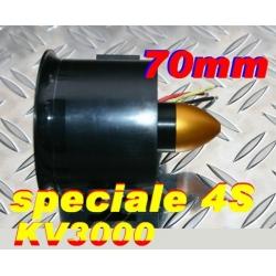 MOTEUR BRUSHLESS + TURBINE DIAMETRE 70 mm SPECIALE 4S  poussée 1100g
