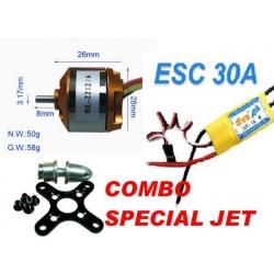 MOTEUR BRUSHLESS BL2212/06 SPECIAL JET DEPRON  KV 2200 + ESC 30/40 A DYS TRACTION 750g