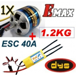 MOTEUR BRUSHLESS BL2215/20 EMAX + ESC 40/50A DYS TRACTION 1.2 KG