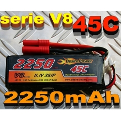 BATTERIE LI-PO DESIRE POWER 11.1v  2250mah  45C