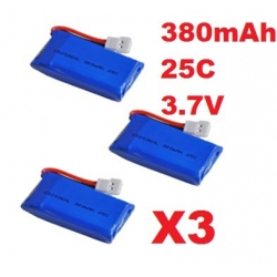 lot de 3 Batteries 3.7V 380mAh 25C pour QR Ladybird / Super CP / Mini CP / Genius CP V2 / Hubsan X4 H107