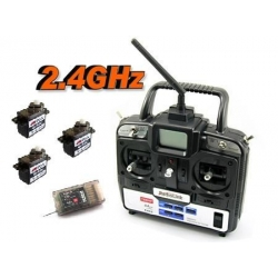 ENSEMBLE RADIO PROGRAMMABLE T6EAP  6 VOIES  2.4Ghz RADIOLINK + 3 SERVOS 9g GOTECK