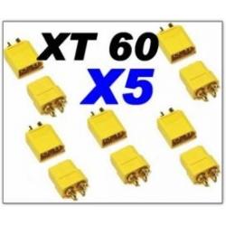 PRISES CONNECTEURS XT60 OR    X 5 PAIRES