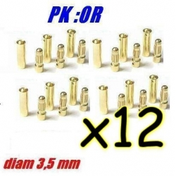 PRISES PK OR PAR 12 PAIRES DIAMETRE 3.5mm 60A MAXI
