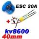 MOTEUR BRUSHLESS KV 8600 + ESC 20A + TURBINE DIAMETRE 40mm LIPO 2S ET 3S  poussée 250g