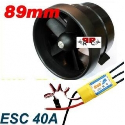 MOTEUR BRUSHLESS + ESC 40A + TURBINE DIAMETRE 89 mm poussée 1000g