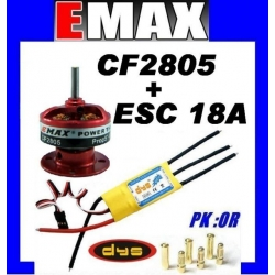MOTEUR BRUSHLESS CF2805 EMAX 121W + ESC 18A DYS TRACTION 400g