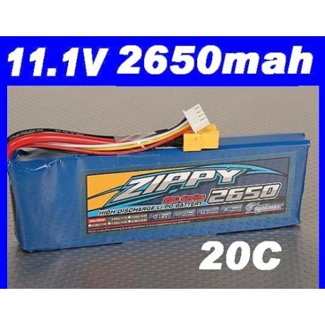 batterie lipo 11.1v 2650mah 20C / 30C  ZIPPY LIGHTMAX