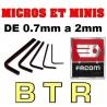 JEU DE BTR six pans MICRO ET MINI BRUSHLESS de  0.7 / 0.9 / 1.30 / 1.5 / 2 mm