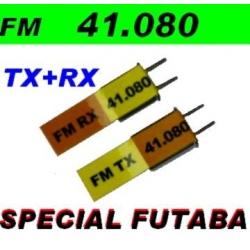 PAIRE DE QUARTZ FM DYNAM TX+RX  41.020 MHz  SPECIAL FUTABA ET COMPATIBLES