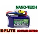 BATTERIE LI-PO NANO-TECH TURNIGY  7.4V 260 mah 35C / 70C F3P E-FLITE