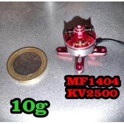 """MOTEUR  BRUSHLESS """"10gr"""" KV2500 MF1404  traction jusqu'a 184gr"""