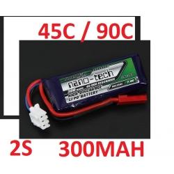 BATTERIE LI-PO NANO-TECH TURNIGY  7.4V 300 mah 45C / 90C F3P