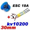 MOTEUR BRUSHLESS KV 10200+ ESC 18A + TURBINE DIAMETRE 30mm LIPO 2S  poussée 85g