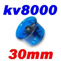 MOTEUR BRUSHLESS KV 8000 + TURBINE DIAMETRE 30mm LIPO 2S ET 3S  poussée 160g